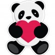 Panda holding heart. — Stock Vector