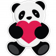 Stock Vector: Panda holding heart.
