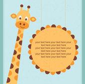 Carte de douche de bébé, carte d'anniversaire avec illustration de giraffe.vector. — Vecteur