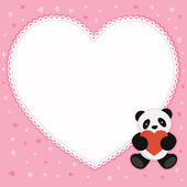 Panda bear with red heart. Valentine card. — Stock Vector