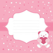 Pink greeting card with teddy bear for baby girl. Baby shower. Vector illustration — Stock Vector