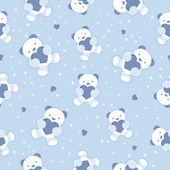 Seamless Blue Baby Background with teddy bear and hearts. Vector illustration. — Stock Vector