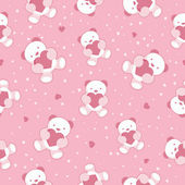 Seamless Pink Baby Background with teddy bear and hearts. Vector illustration. — Stock Vector