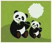 Two pandas. Vector illustration. — Stockvektor