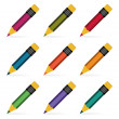 Pencils set. Vector illustration. — 图库矢量图片