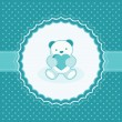 Greeting card with teddy bear for baby boy. Vector illustration. — Stock Vector