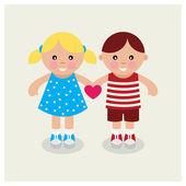 Kids holding heart. Vector illustration. — Stock Vector