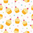 Cupcake Seamless Pattern. Vector illustration. — Stock Vector