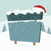 Letrero en la nieve. paisaje de Navidad. ilustración vectorial. — Vector de stock