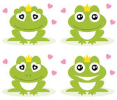 Vector illustration of green frogs. — Stock Vector