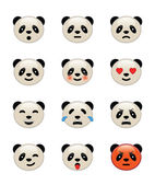 Panda bear emotion icons — Stock Vector