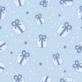 Vector Seamless blue gift boxes pattern. Vector background. — Vettoriale Stock