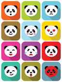 Panda bear flat emotions icons set. — Stock Vector
