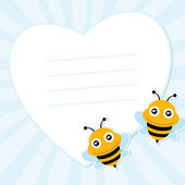 Two flying bees and heart shape. Vector illustration. — Stock Vector