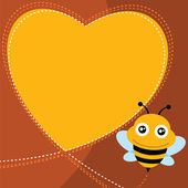 Flying bee and heart shape. — Stock Vector
