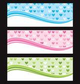 Set of wave background banner or header. Vector illustration. — Stock Vector