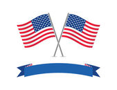 American flags and banner. — Stock Vector