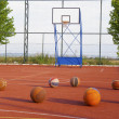 Stock Photo: Basketballs and basketball court