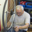 Repair of bicycle wheel — Stock Photo