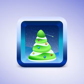 Green festive fir icon IOS style — Cтоковый вектор
