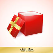 Open Red Cardboard Carton Gift Box — Stock Vector