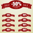Great Sale tags with 10 - 90 percent text — Stock Vector