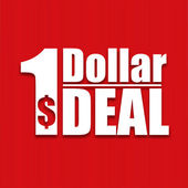 Dollar deal poster on a red background, vector illustration — Stock Vector