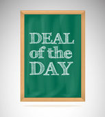 Deal of the day, green chalkboard with wooden frame — Stock Vector