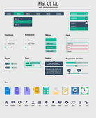 UI kit is a of beautiful components featuring the flat design, with icon set — Stock Vector
