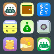 Flat icons, monetary topics for web and mobile applications — ベクター素材ストック