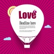 Balloon cut out of paper, with the words Love — Stock Vector