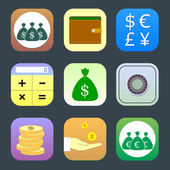 Flat icons, monetary topics for web and mobile applications — Stock Vector