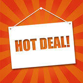 Noteboard with the words Hot deal — Stock Vector