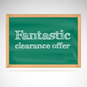Fantastic clearance offer - the inscription chalk on the green chalkboard in a wooden frame — 图库矢量图片