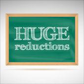 Ogromne redukcje - kredą napis — Wektor stockowy