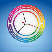 Helle uhr mit einem zifferblatt des regenbogens, schönes konzept für ihr design — Stockvektor