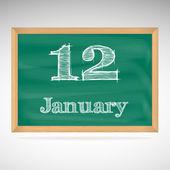 January 12, inscription in chalk on a blackboard — Stock Vector