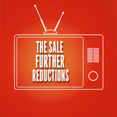 Silhouette of a TV, The sale Further reduction — Vector de stock