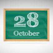 Ekim 28, tebeşir bir kara tahta üzerinde yazıt — Stok Vektör