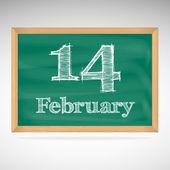 February 14, inscription in chalk on a blackboard — Stock Vector