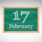 February 17, inscription in chalk on a blackboard — Stock Vector
