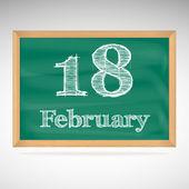 February 18, inscription in chalk on a blackboard — Stock Vector