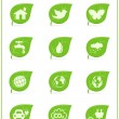 Ecology icon set, v4. Leaf nature icons — Stock Vector