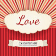 Love greeting card, vector vintage card — Stock Vector