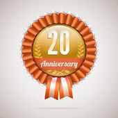 Anniversary golden badge with ribbons — Stock Vector