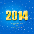 Happy new year 2014, three-dimensional gold figures — Stock Vector