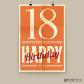 Happy birthday poster, card. eighteen years old. — Stock Vector