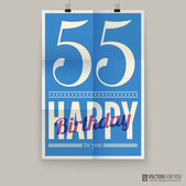 Happy birthday poster, card, fifty-five years old. — Stock Vector