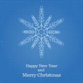 Snowflake symbol like blueprint drawing. — Stock Vector