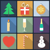 Set of Christmas icons, flat icons — Stok Vektör